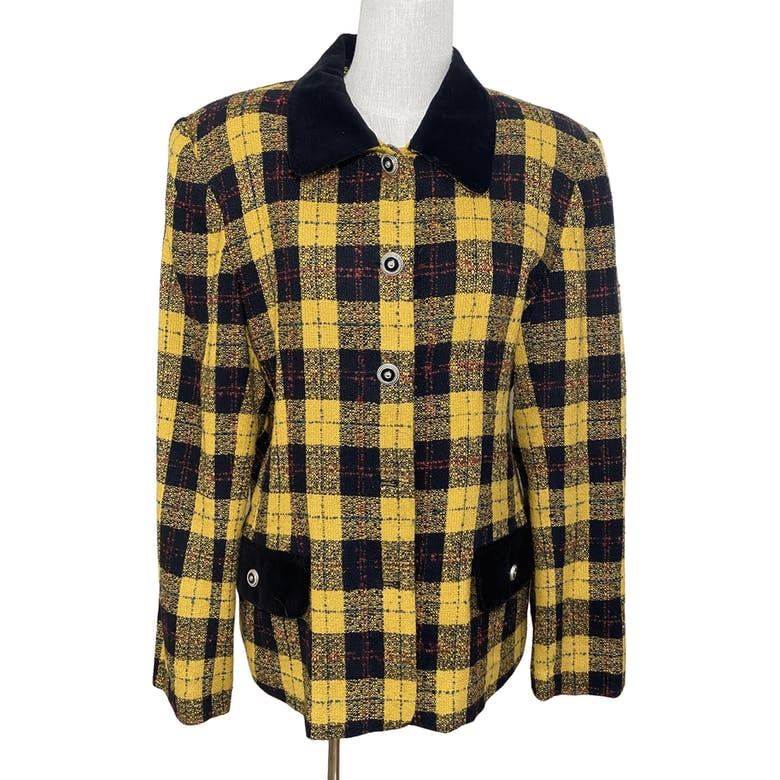 Plaid Yellow and Black Blazer by Leslie Fay