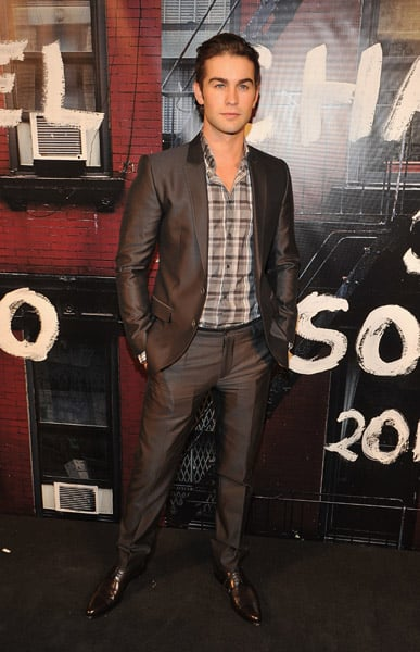 Gossip Girl star Chace Crawford looked very handsome in an open necked check shirt.