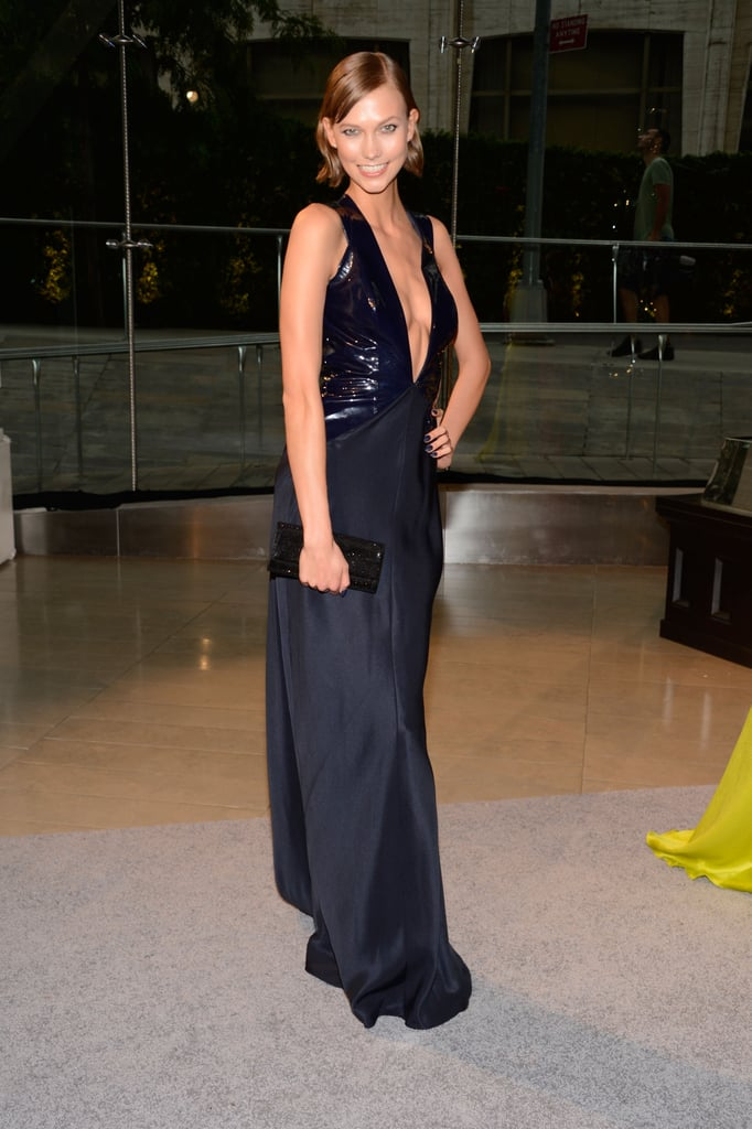 Karlie Kloss wore a low-cut gown to the CFDA Fashion Awards.