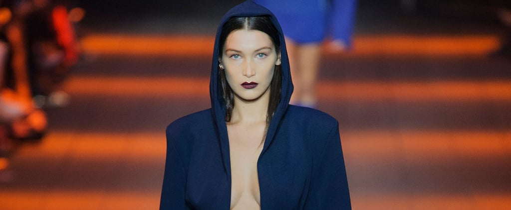 Bella Hadid Hits the DKNY Catwalk in a Whole New Type of Tuxedo Dress