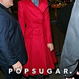 Katie Holmes wore a red coat while out in NYC.