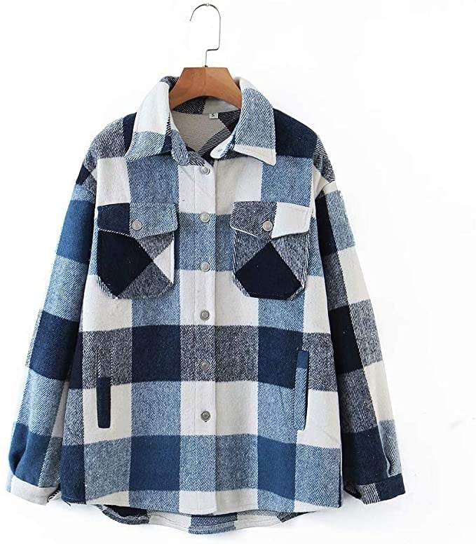 Casual Wool-Blend Plaid Shacket
