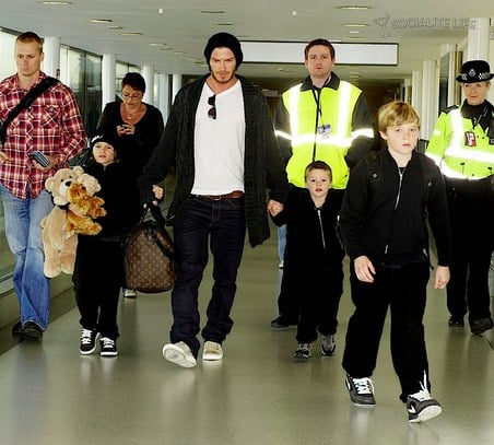 David Beckham and his boys arrive in London for the Holidays