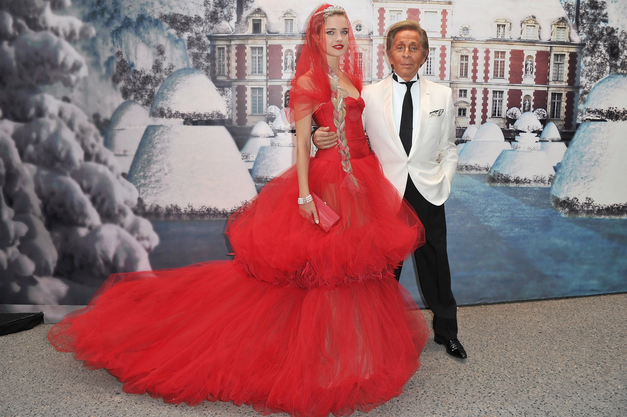 Natalia Vodianova was a standout in red with Valentino.