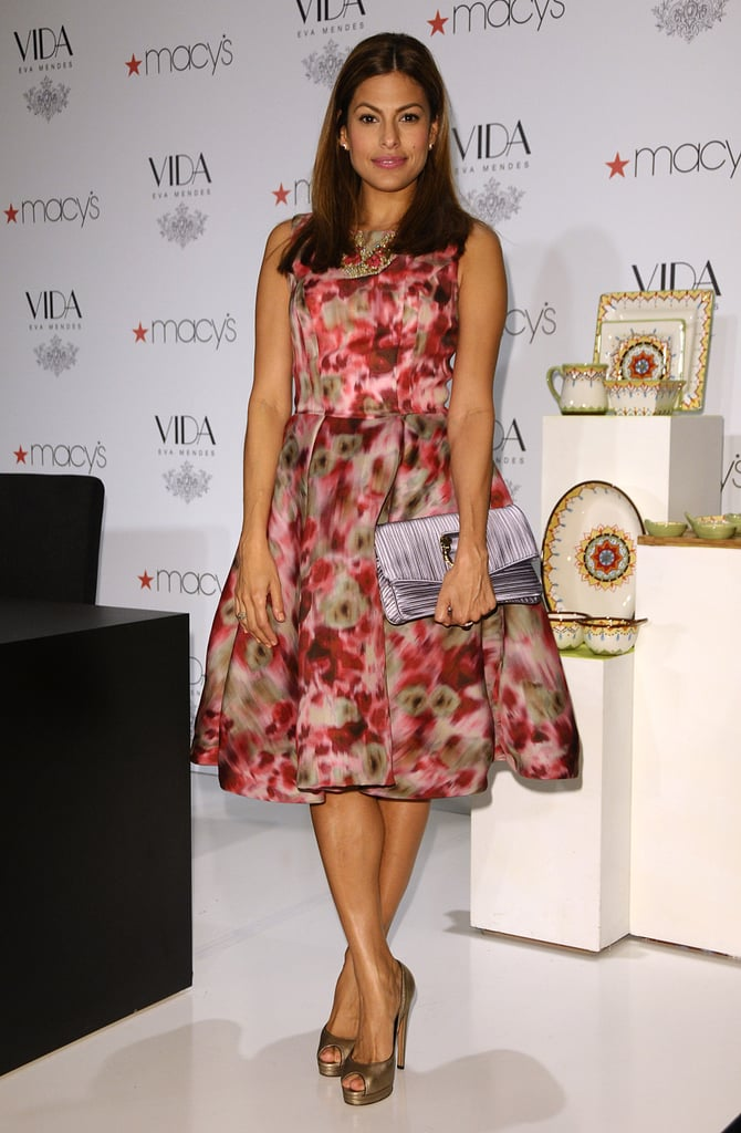 At another Macy's appearance in January 2010, Eva looked superfeminine in a poufy printed Christian Lacroix frock, which she sported with metallic peep-toe platforms and a colorful bib necklace.