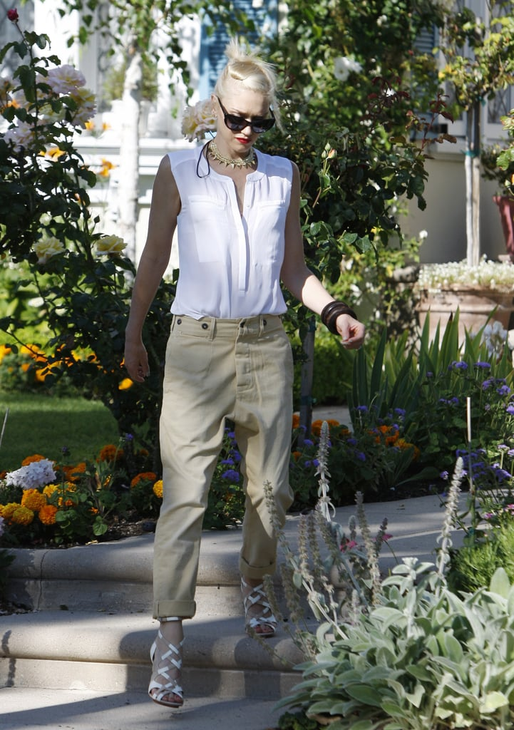 Gwen Stefani walked out of her parents' house in LA on Father's Day.