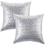 Kevin Textile Decorative Glitzy Sequin & Comfy Satin Solid Throw Pillow