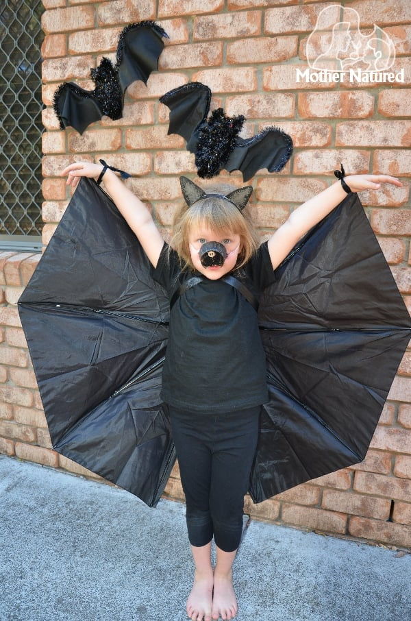 Umbrella Bat Wings | DIY Kids' Halloween Costumes From Old ...