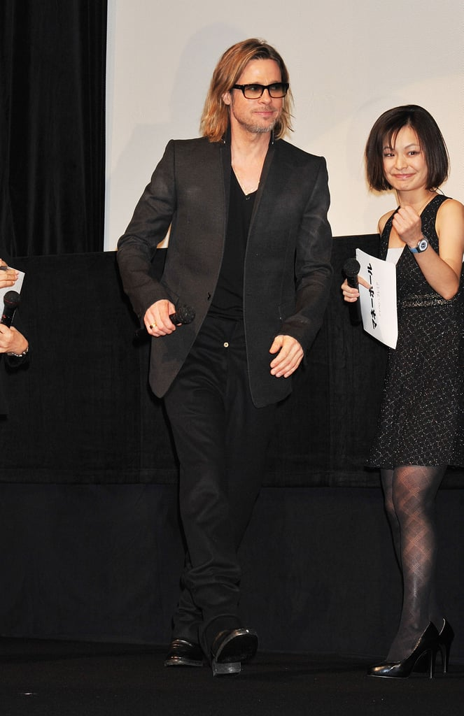 Brad Pitt was welcomed to the stage in Tokyo.