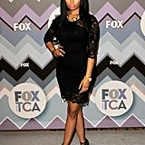 Nicki Minaj wore a black dress.