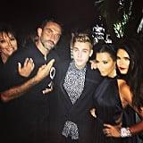 Kris Jenner, Riccardo Tisci, Justin Bieber, Kim Kardashian, and Kendall Jenner