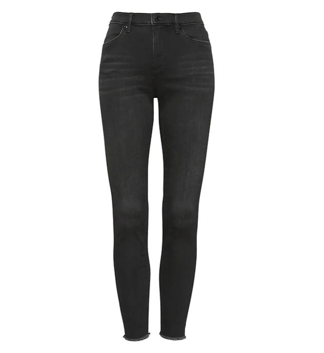High-Rise Legging-Fit Black Ankle Jean with Fray Hem
