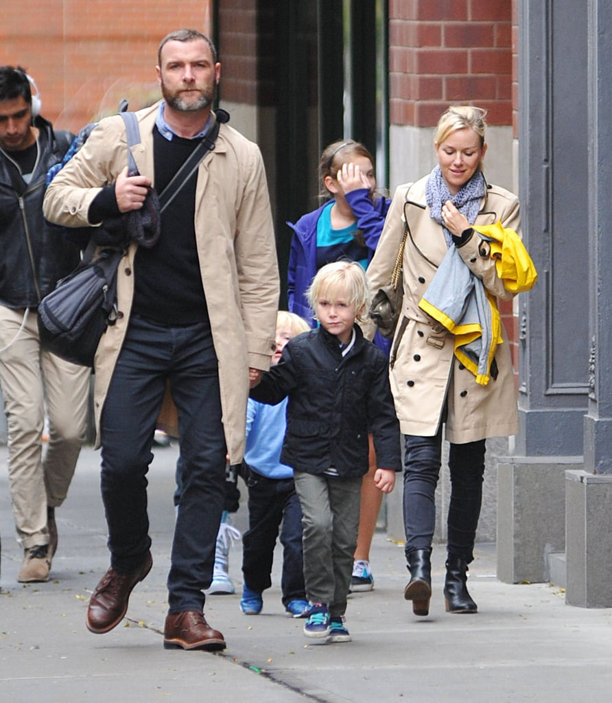 Naomi Watts and Liev Schreiber held their sons' hands for a walk in NYC.