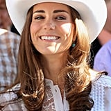 Later on the tour, the Duchess of Cambridge was given a pair of turquoise earrings made by local designer Corrie McLeod, and wore them straight away to the Calgary Stampede.