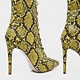 PrettyLittleThing Lime Snake Lace Up High Point Ankle Boot