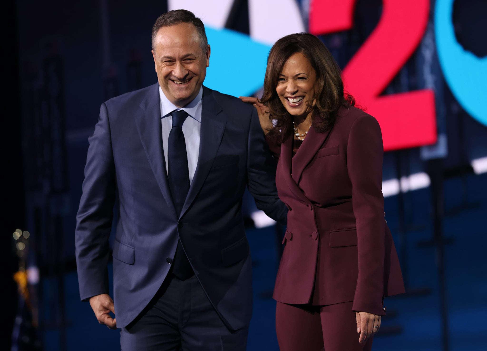 WILMINGTON, DELAWARE - AUGUST 19:  Democratic vice presidential nominee U.S. Sen. Kamala Harris (D-CA) and her husband Douglas Emhoff appear on stage after Harris delivered her acceptance speech on the third night of the Democratic National Convention from the Chase Centre August 19, 2020 in Wilmington, Delaware. The convention, which was once expected to draw 50,000 people to Milwaukee, Wisconsin, is now taking place virtually due to the coronavirus pandemic. Harris is the first African-American, first Asian-American, and third female vice presidential candidate on a major party ticket. (Photo by Win McNamee/Getty Images)