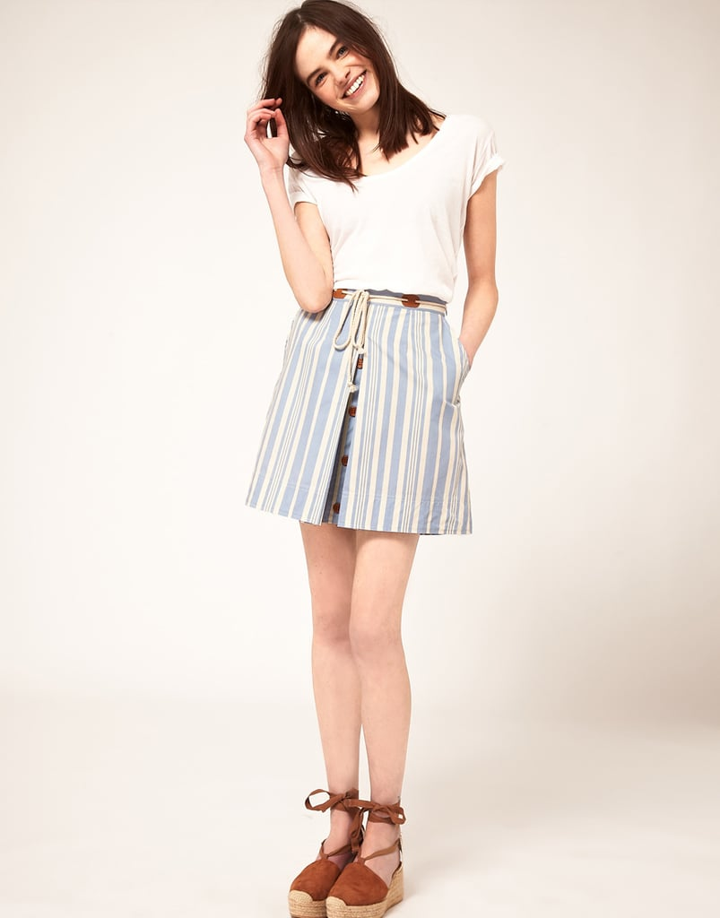 We'd wear this high-waisted, hipster-cool skirt with a slouchy tee and espadrilles, complete with a boater hat. Le Mont St. Michel Striped Skirt ($199)