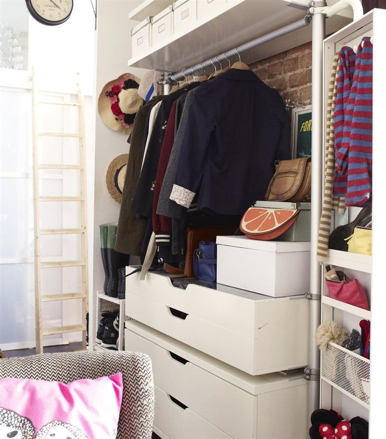 while ikea 39 s stolmen storage unit is usually kept in the bedroom tiny ikea inspired apartment. Black Bedroom Furniture Sets. Home Design Ideas