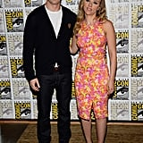 Scarlett Johansson and Chris Evans posed together at the Comic-Con panel for Captain America: The Winter Soldier.