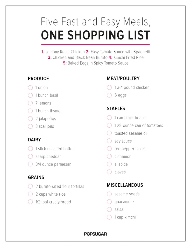Shopping List | Recipes With Grocery List | POPSUGAR Food