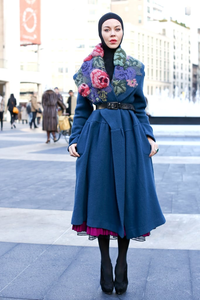 A gorgeous floral-embroidered collar makes this one of the prettiest ways to bundle up.