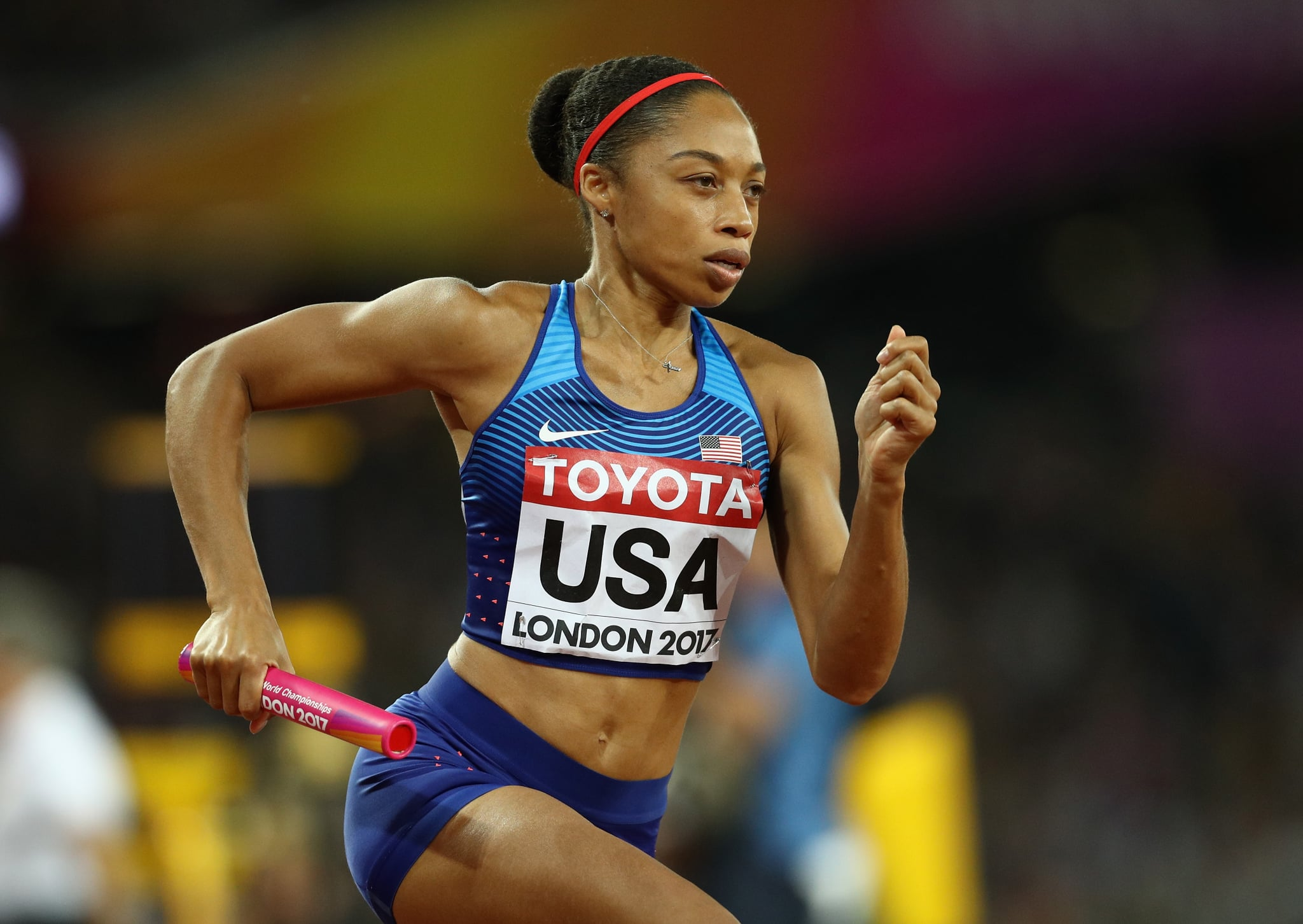 LONDON, ENGLAND - AUGUST 13:  Allyson Felix of the United States during the Women's 4x400 Metres Relay final during day ten of the 16th IAAF World Athletics Championships London 2017 at The London Stadium on August 13, 2017 in London, United Kingdom.  (Photo by Patrick Smith/Getty Images)