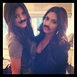 Kylie Jenner and Kim Kardashian tried on disguises. Source: Instagram user kimkardashian