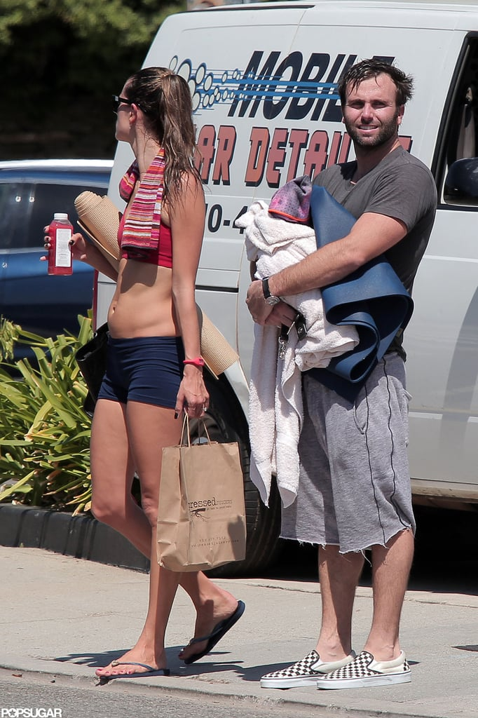 Alessandra Ambrosio was out in LA with her fiancé Jamie Mazur and their son Noah Mazur.