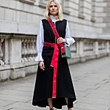 Layered Underneath a Long, Dark Dress With Bright Accessories