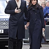 Meghan Markle Matched Prince Harry in Her Navy Mackage Coat