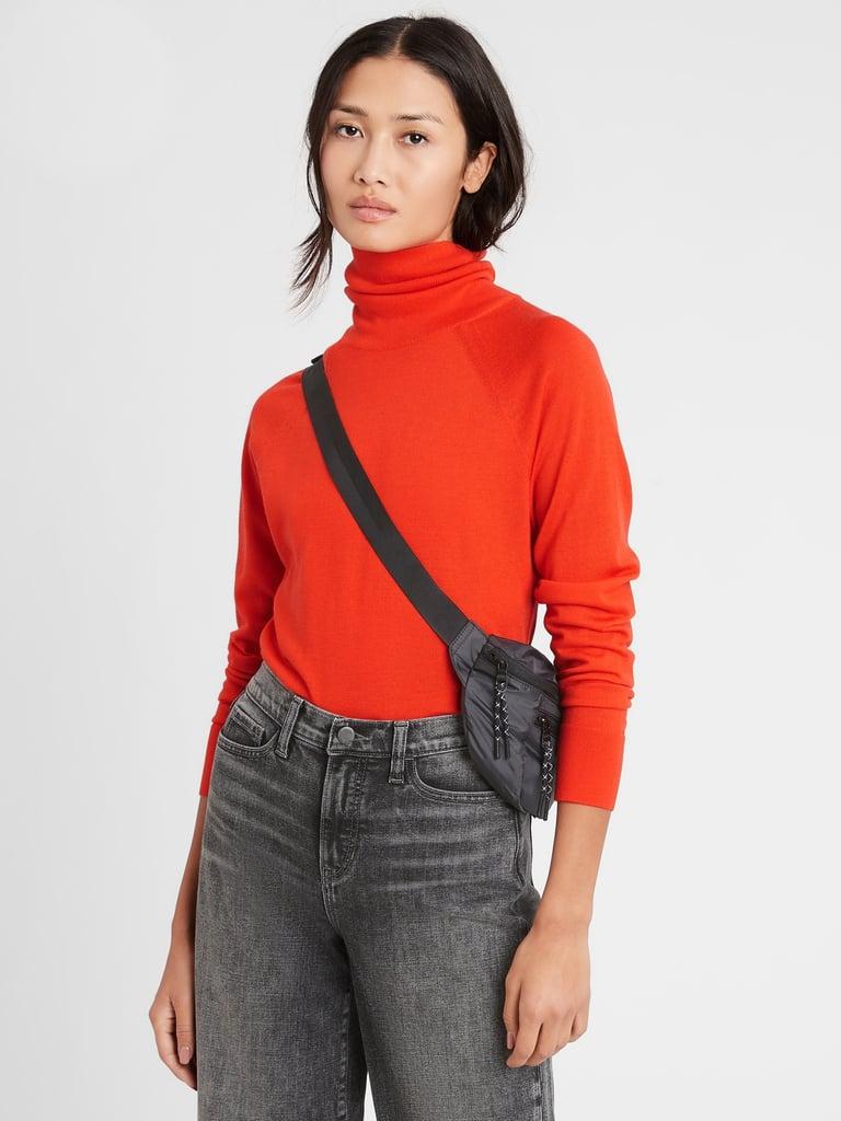Banana Republic Merino Turtleneck Sweater in Responsible Wool in Autumn Orange