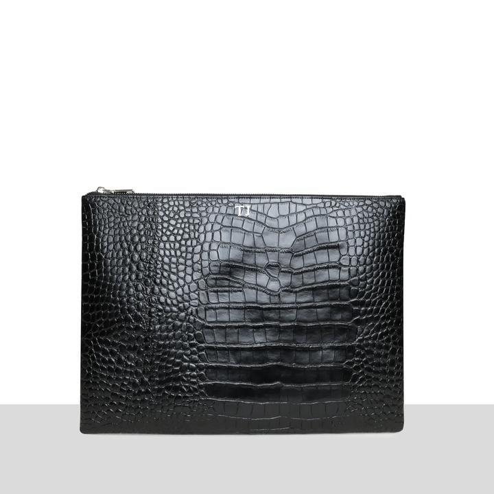 Azurina Black Croc Laptop Pouch