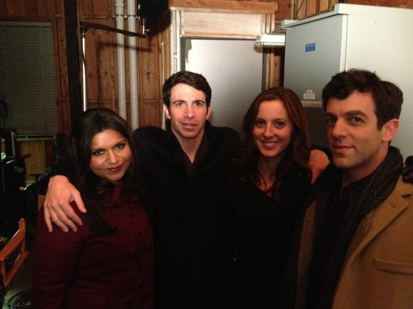The Mindy Project's Mindy Kaling and Chris Messina snapped a picture with guest stars Eva Amurri and B.J. Novak. Source: Twitter user mindykaling