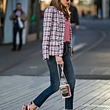 Use skinny jeans as a neutral canvas when you pair statement jackets and heels alike with your new denim favourite.