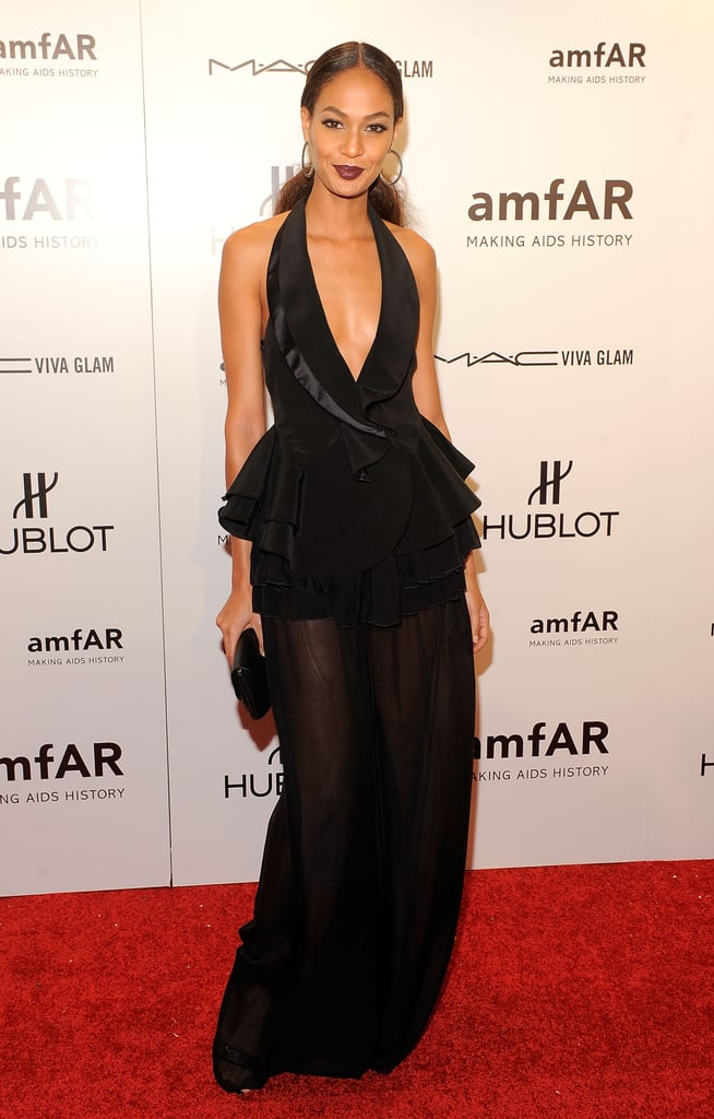 Joan Smalls looked stunning in a tuxedo-blazer-front gown — the peplum detail at the waist added a cool fit-and-flare shape to her long frame.