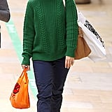Rachel McAdams wore a green sweater in London.