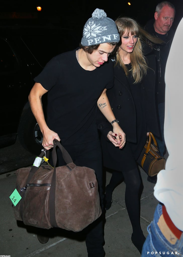 Taylor Swift held hands with Harry Styles last night as they headed back to their NYC hotel. Taylor and Harry were spotted kissing at midnight, shortly after Taylor performed for the crowds during Dick Clark's New Year's Rockin' Eve in Times Square.  The pair have reportedly been dating since November and took a ski vacation with Justin Bieber and Selena Gomez, one of Taylor's close friends, just before Christmas. Taylor clearly has a good feeling about the year ahead. The singer has always said 13 is her lucky number, and tweeted about the good omen last night.