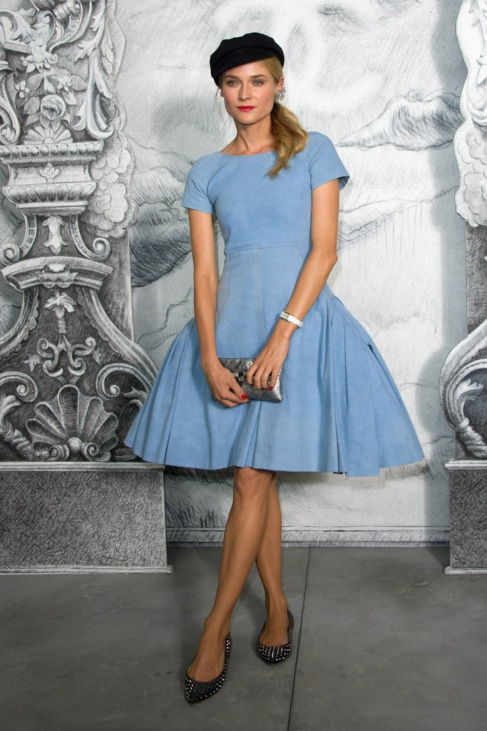 Diane Kruger wore a light blue dress for the Chanel photocall in Paris.