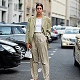 Style Your Summer Suit With a White Strappy Pair
