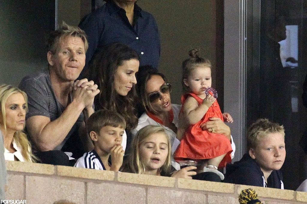 Gordon Ramsay watched the LA Galaxy with Victoria Beckham and friend in LA.