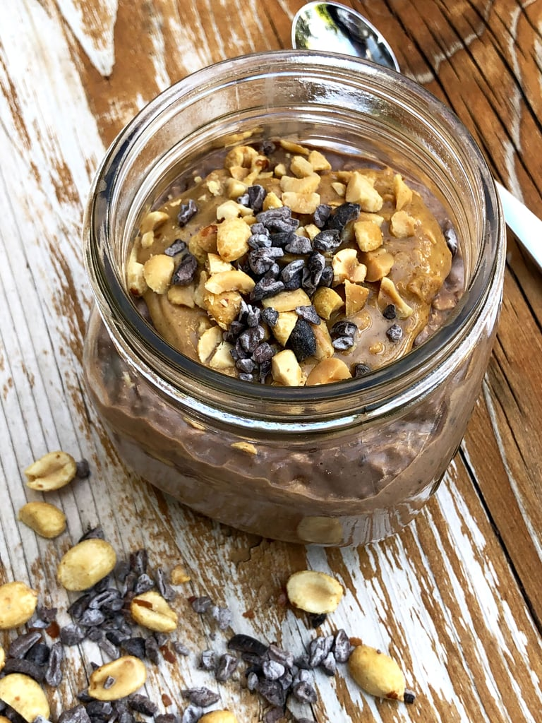 Chocolate Overnight Oatmeal With Peanut Butter Swirls