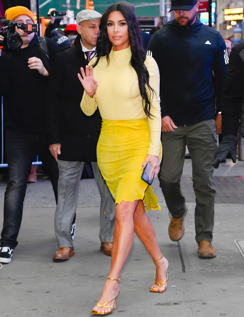Kim Kardashian's Yellow Turtleneck and Suede Skirt in NYC