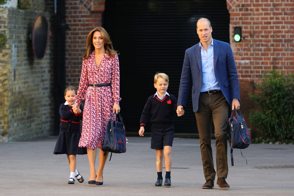 Kate Middleton arrived at Thomas's Battersea school today, alongside Prince William, to drop off Princess Charlotte for her first day of school, with Prince George also returning for another academic year. Although a new school year unofficially marks the end of the Summer, it looks like the duchess isn't ready to give up her Summer wardrobe just yet.  For the important occasion, Kate wore a floral Michael Kors Carnation Georgette Shirtdress accessorized with a thin black belt and her trusty navy suede heels, which just so happened to match the colors of Charlotte's school bag. Just when we were starting to think about getting our Fall sweaters out, Kate might just have changed our minds about packing away our Summer dresses prematurely.  It's safe to say Kate is no stranger to a breezy Summer dress. She's worn pretty tea dresses all Summer long, and we're still thinking about the green Sandro dress she wore to Hampton Court Palace and the 1930s-style printed tea dress and espadrille wedges combo she wore back in June. So take it from Kate, if you're not ready to give up your pretty, flowing prints yet, there's still time.  Ahead, get a closer look at Kate's pretty dress, which, unsurprisingly, is all sold out.      Related:                                                                                                           Kate Middleton's Summer Dresses Have Always Been Outrageously Good, and We Have Proof