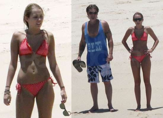 Pictures of Miley Cyrus in a Bikini in Mexico With Billy Ray
