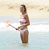 Heidi Klum swims in the Mediterranean in her bikini.