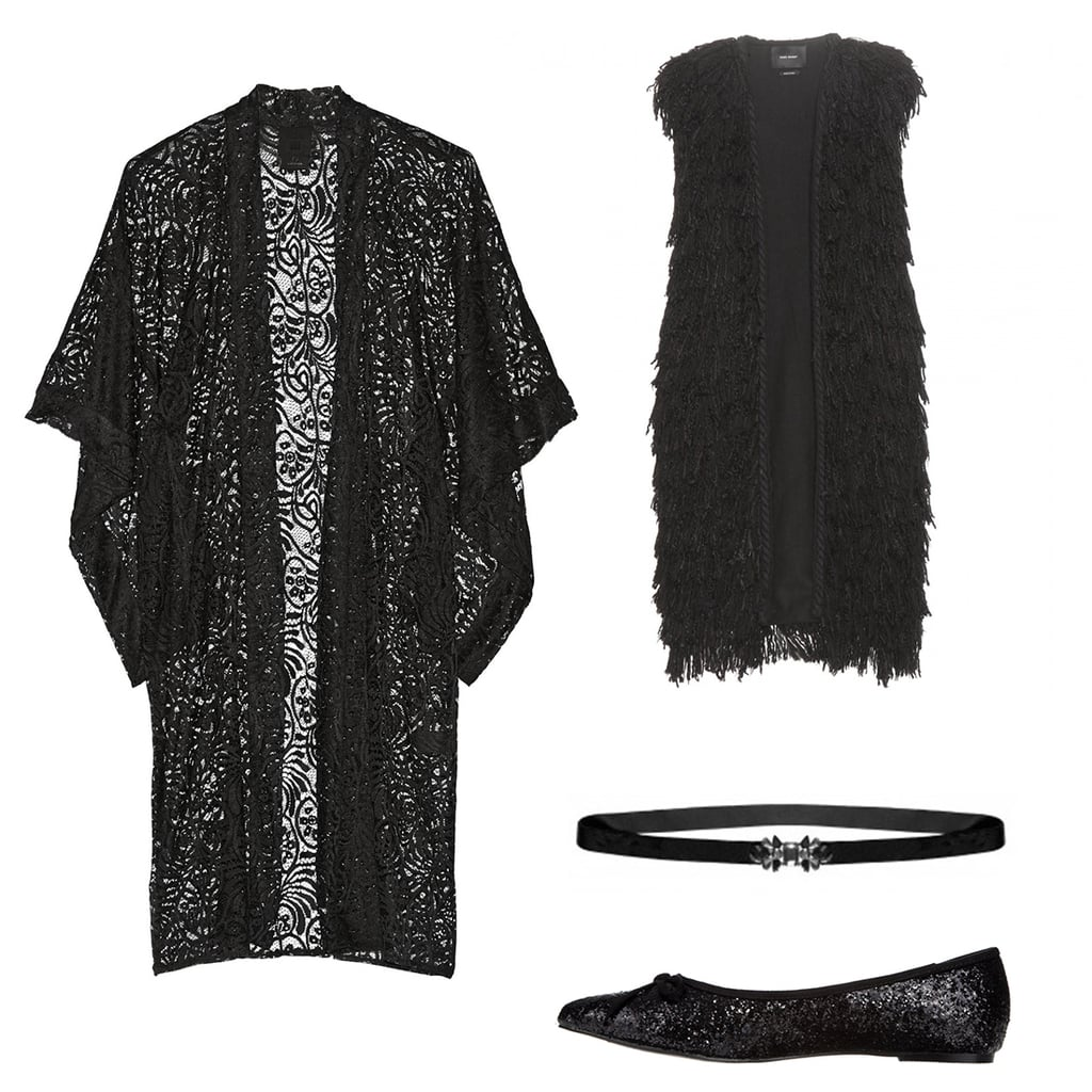 Kimono, $263, Anna Sui at Net-a-Porter; sleeveless jacket, $1,088, Isabel Marant at My Theresa; flats, $50, Therapy at The Iconic; belt, $69, Alannah Hill