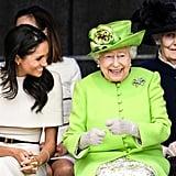 Meghan Smiling at Queen Elizabeth 2018