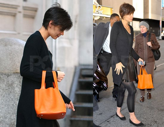 Photos of Katie Holmes Dressed in Halloween Colors Walking Into Theater