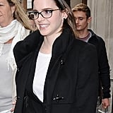 Emma Watson wore glasses to her appearance on BBC Radio in London.