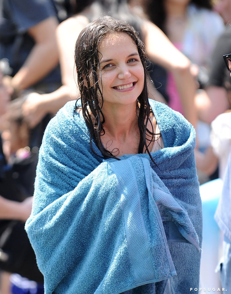 Katie Holmes wrapped up in a towel while on set in NYC.